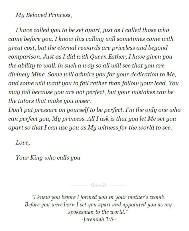 ~ Set Apart~   From His Princess, Love Letters From The King
